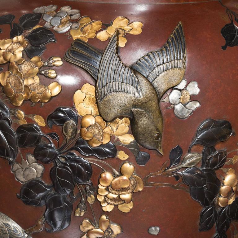 Paar Vasen aus Bronze und Gemischtem Metall Rotierend aus der Meiji-Periode Ausstellungsqualität 3