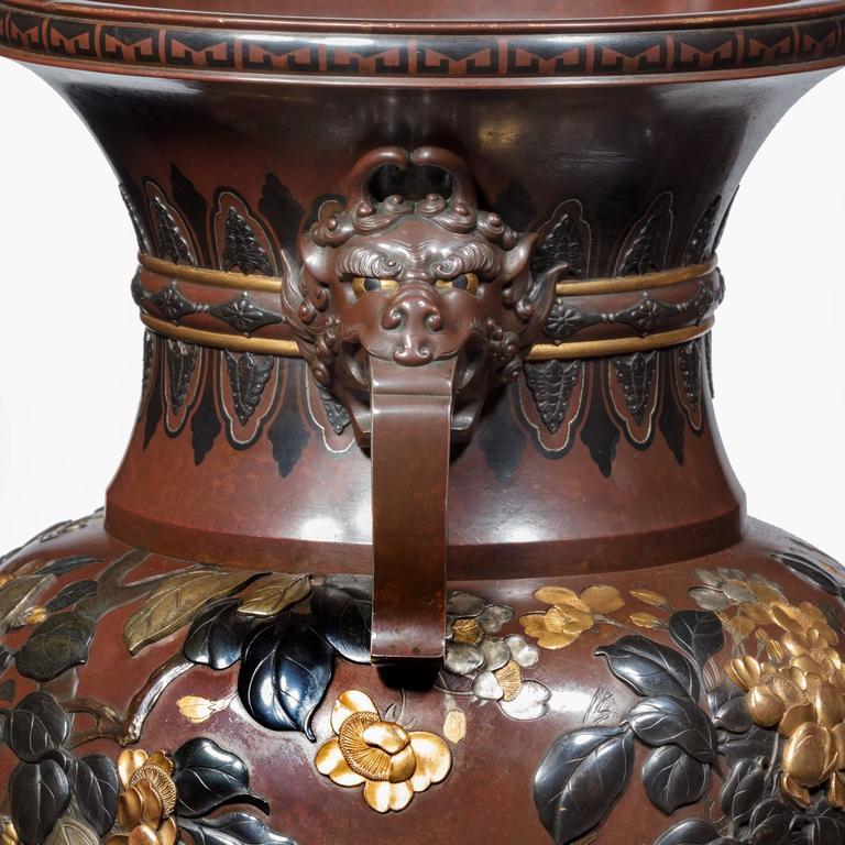 Paar Vasen aus Bronze und Gemischtem Metall Rotierend aus der Meiji-Periode Ausstellungsqualität 5