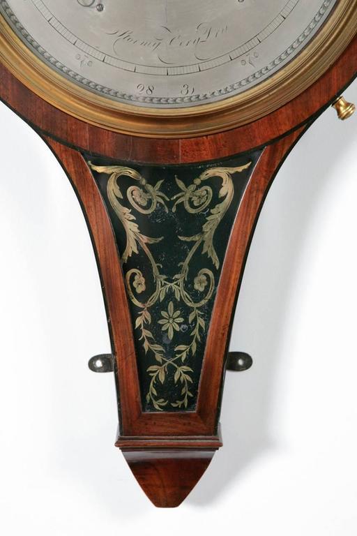 Antique Scottish Regency Verre Églomisé Barometer by John Russell of Falkirk