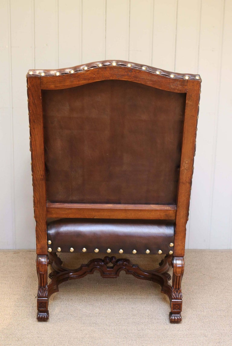 French carved wooden leather chair for sale at stdibs