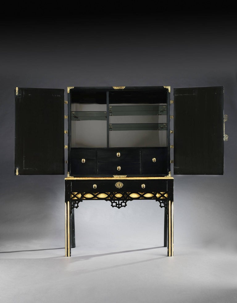 cocktail cabinet a black lacquer cabinet on stand for