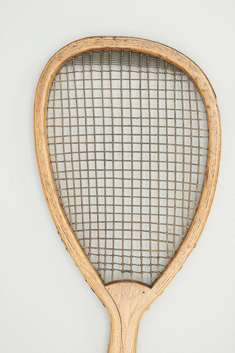 Sporting Art Antique Lop Sided Lawn Tennis Racket, Tear Drop, Tilt-Top Shape For Sale