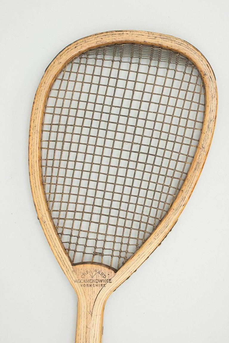 English Antique Lop Sided Lawn Tennis Racket, Tear Drop, Tilt-Top Shape For Sale