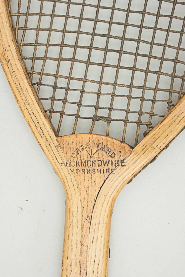 Antique Lop Sided Lawn Tennis Racket, Tear Drop, Tilt-Top Shape In Excellent Condition For Sale In Oxfordshire, GB