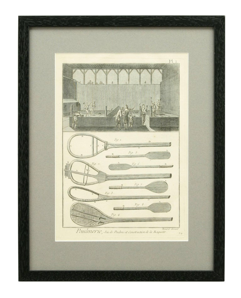 A set of rare 18th century Tennis engravings. The nine engravings are images of real tennis rackets, how they are made and tools used. Also details of the court and one image on billiards. The engravings are from the 'Encyclopedia' by Denis Diderot
