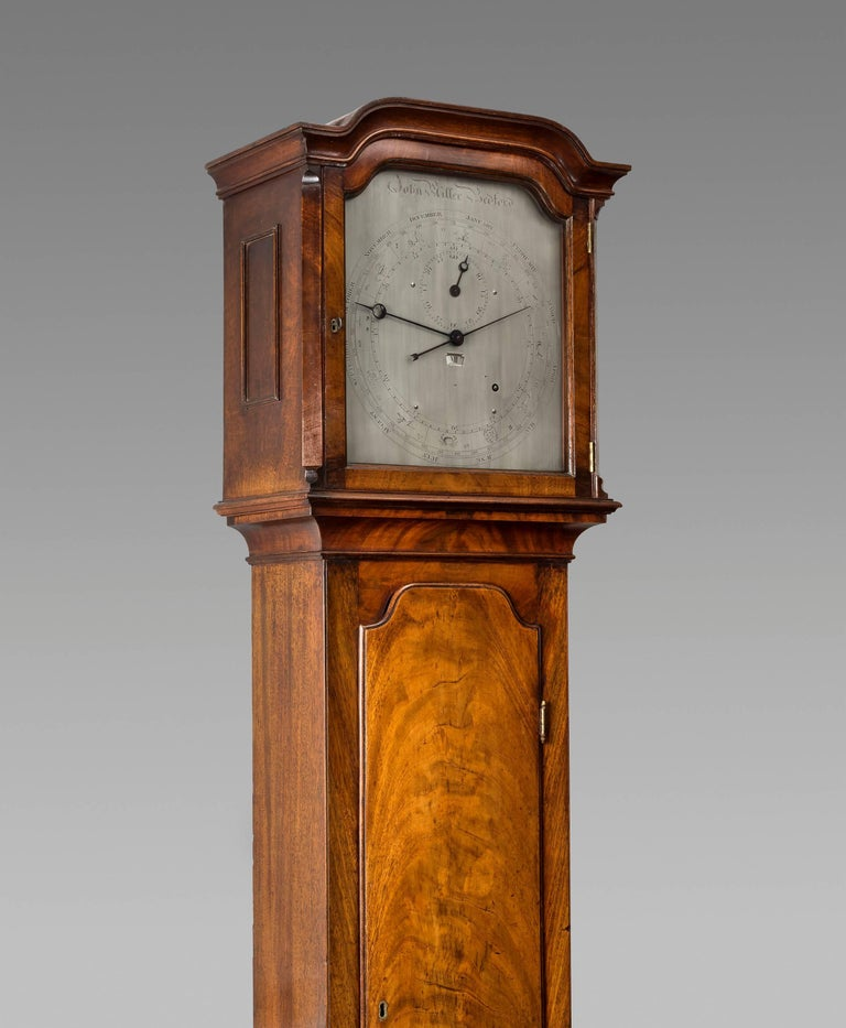 Regency Year Calendar Mahogany Regulator Longcase Clock by John Miller, Bedford