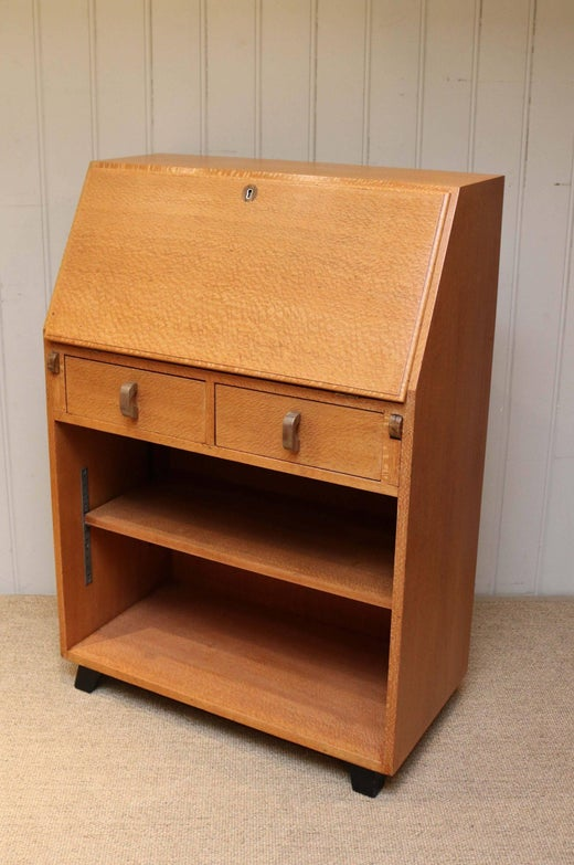 Unusual Australian Silky Oak Art Deco Bureau For Sale