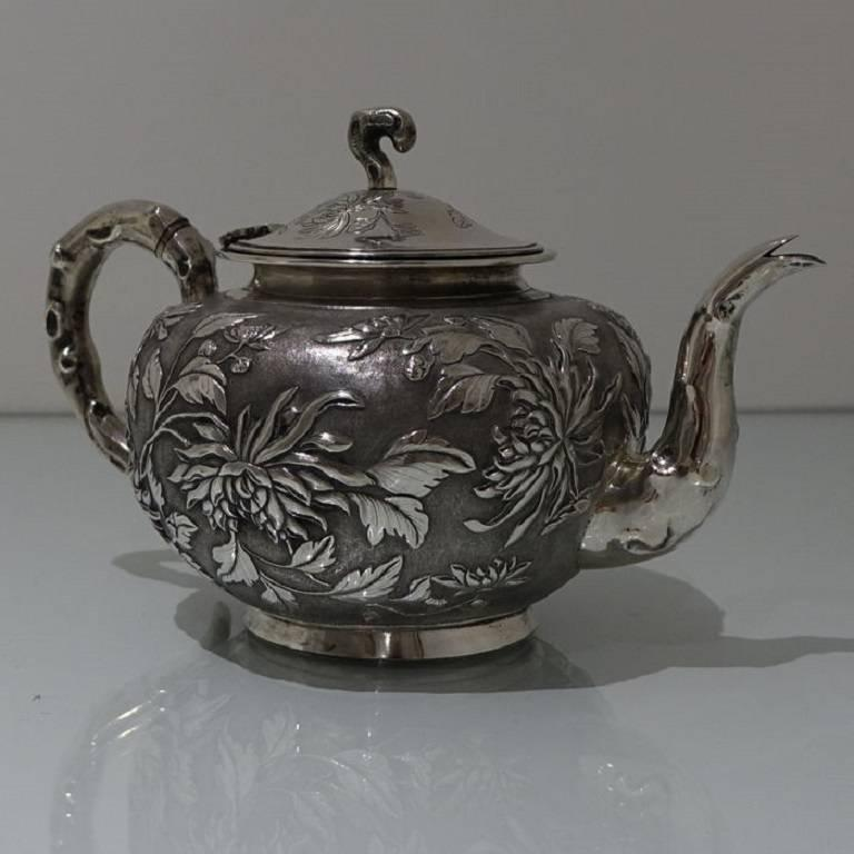 Early 20th Century Antique Silver Chinese Three-Piece Tea Set, Hong Kong, circa 1900 For Sale