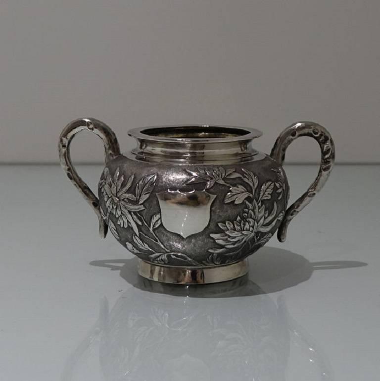 Antique Silver Chinese Three-Piece Tea Set, Hong Kong, circa 1900 For Sale 3