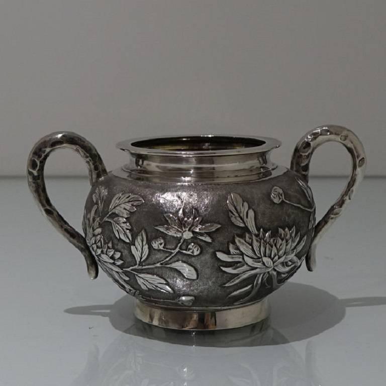 Antique Silver Chinese Three-Piece Tea Set, Hong Kong, circa 1900 For Sale 4