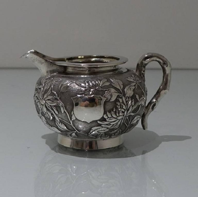 Antique Silver Chinese Three-Piece Tea Set, Hong Kong, circa 1900 For Sale 5