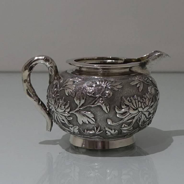 Antique Silver Chinese Three-Piece Tea Set, Hong Kong, circa 1900 For Sale 6