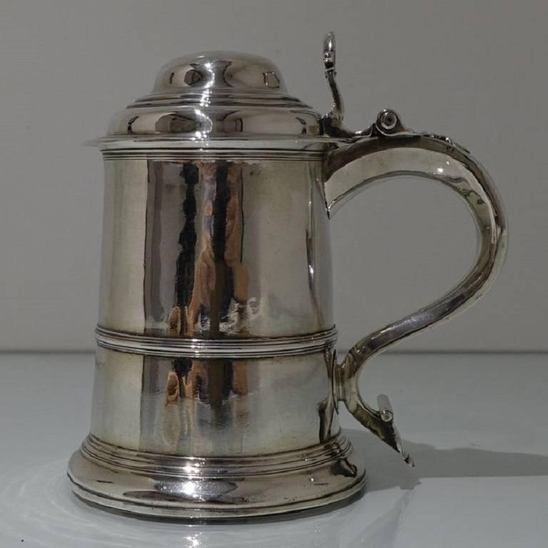 British George II Antique Sterling Silver Tankard and Cover Fuller White For Sale