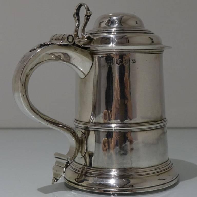 Mid-18th Century George II Antique Sterling Silver Tankard and Cover Fuller White For Sale