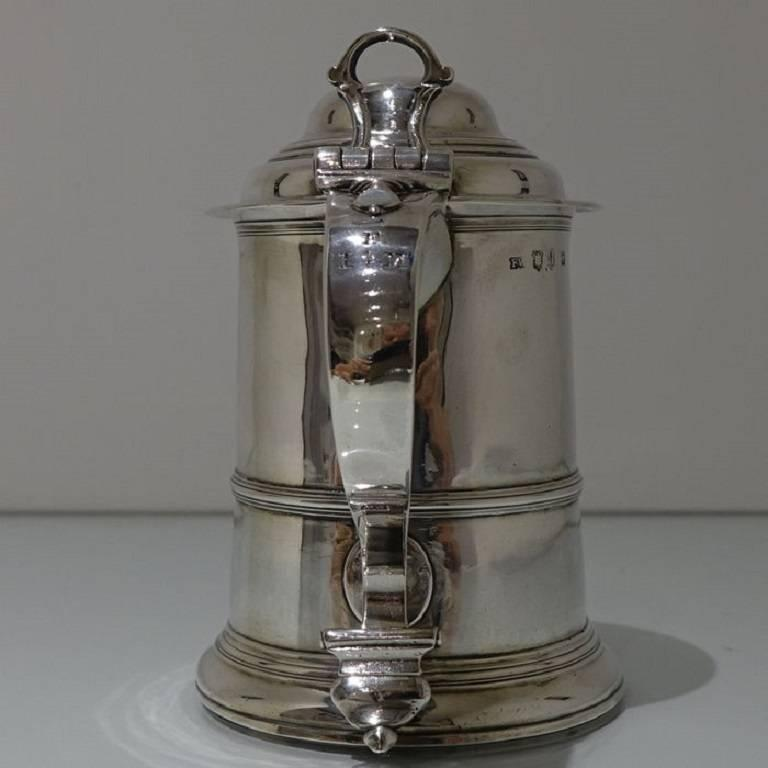 George II Antique Sterling Silver Tankard and Cover Fuller White For Sale 4