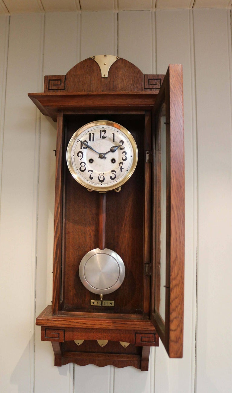 Oak arts and crafts striking wall clock for sale at 1stdibs for Small clocks for crafts
