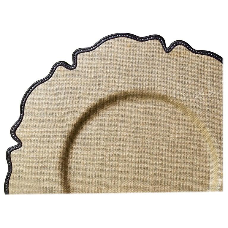 For Sale: Brown (dark yuta.jpg) Promemoria Ibisco Underplate in Leather by Romeo Rozzi