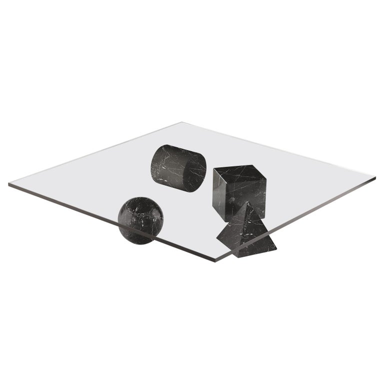 For Sale: Black (Black Marquina) Martinelli Luce Metafora 1979 Table by Lella and Massimo Vignelli