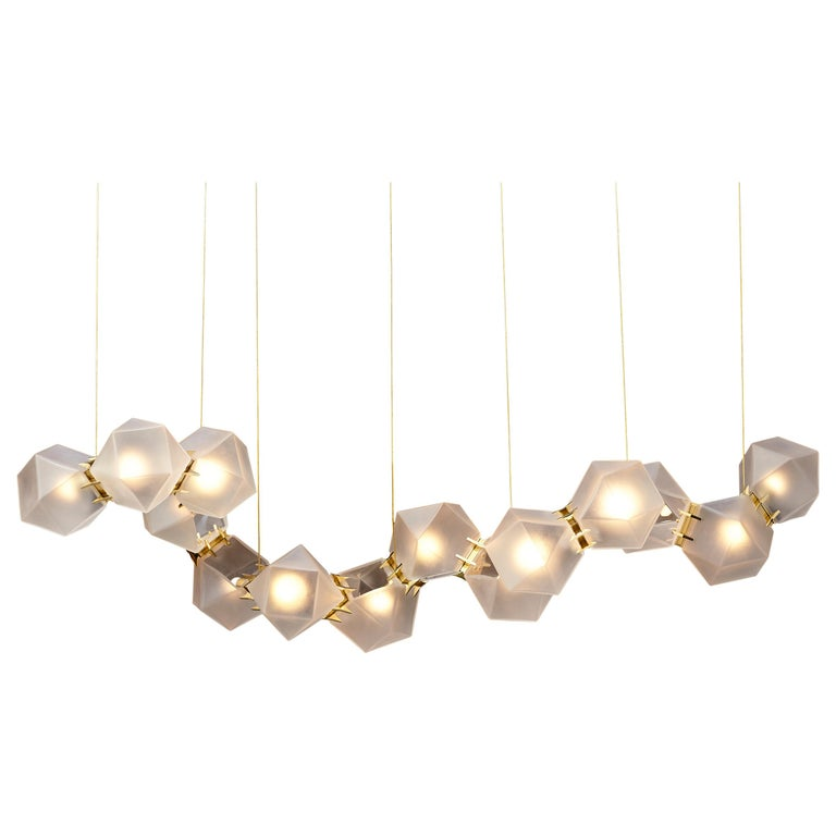 For Sale: Gold (Satin Brass) Welles Glass Long Chandelier in Alabaster White Glass by Gabriel Scott