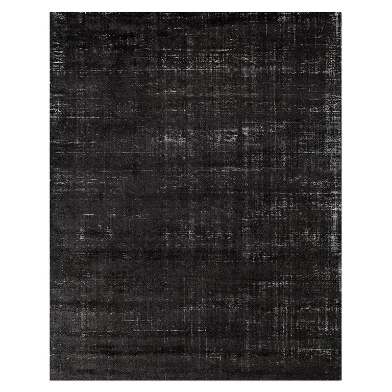 For Sale: Black (Distressed Wool Black) Ben Soleimani Distressed Wool Rug 8'x10'