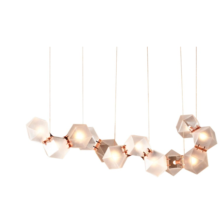 For Sale: Brown (Satin Copper) Welles Glass Long Chandelier in Alabaster White Glass by Gabriel Scott