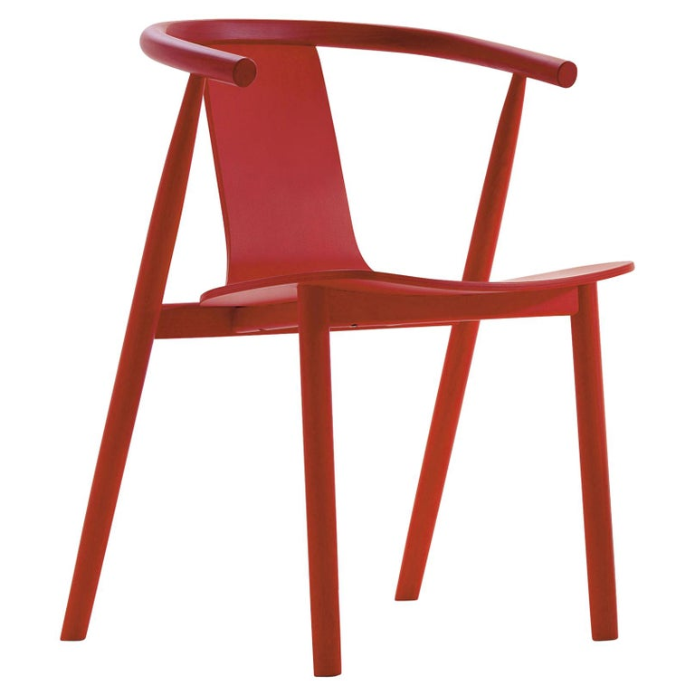 For Sale: Orange (A10 Cherry Red Aniline Ash) Jasper Morrison Bac Stool in Solid Ashwood for Cappellini