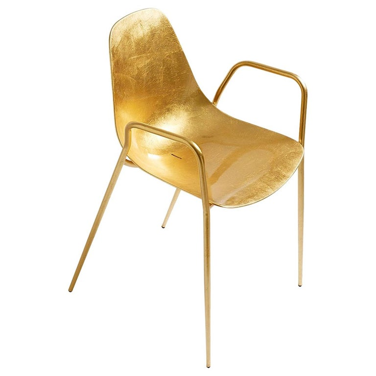 For Sale: Gold (Gold Leaf) Opinion Ciatti Mammamia Stackable Chair with Armrests Set of 2