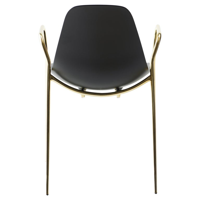 For Sale: Black (Black with Gold Structure) Opinion Ciatti Mammamia Stackable Chair with Armrests Set of 2
