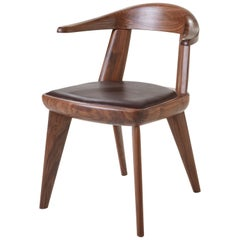 Brutus Armchair in Solid Walnut with Leather Seat Designed by Craig Bassam