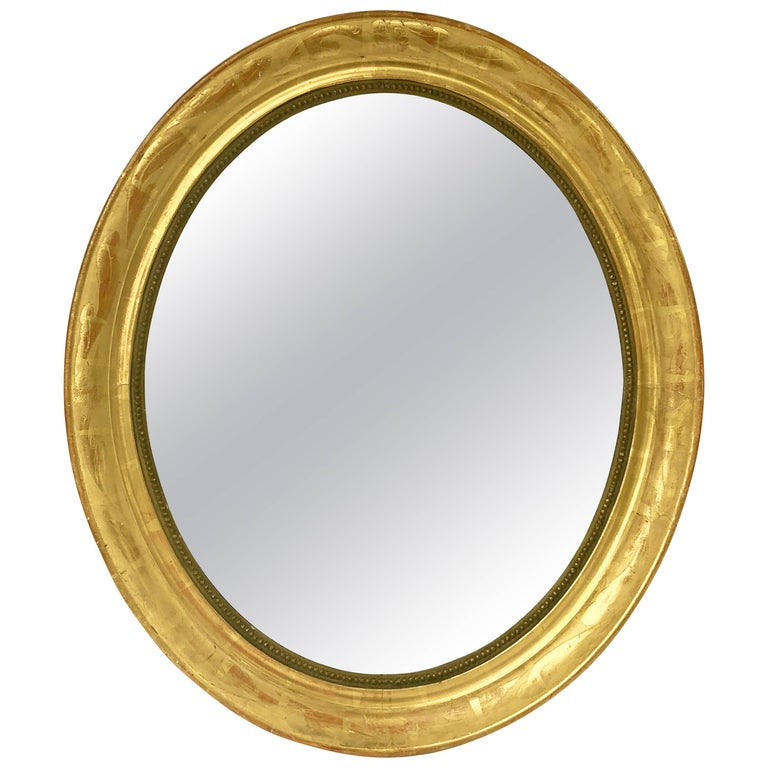 Louis Philippe Oval Framed Gilt Mirror (H 31 x W 27) For Sale at 1stdibs