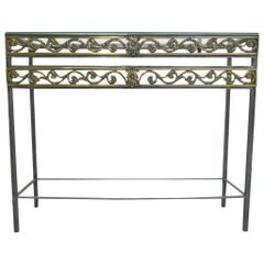 20th Century Polished Steel Console Table in the Style of Oscar Bach