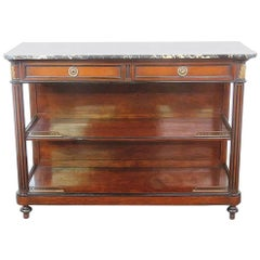 French Louis XVI Marble Top Bronze Mounted Buffet Sideboard Server C1920s