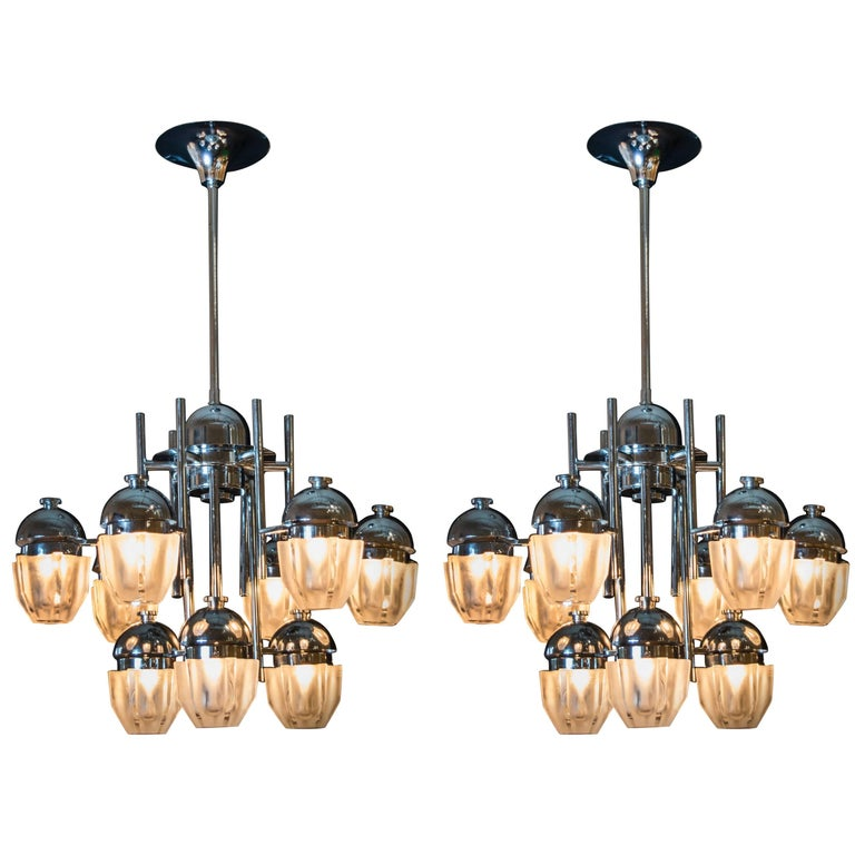 Pair of Chrome Sciolari Chandeliers with Nine Lights