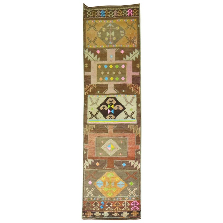 Vintage Turkish Eclectic Anatolian Runner For Sale