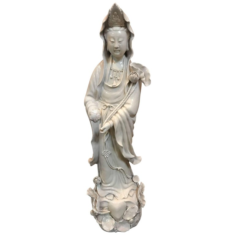 Fine Dehua, Blanc de Chine, Quan Yin Porcelain Figure For Sale