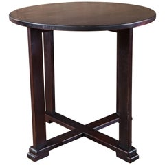 French Black Mahogany Art Deco Round Side Table, circa 1920