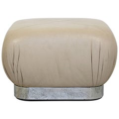 Mid-Century Modern Preview Chrome Beige Leather Ottoman Pouf Casters Springer