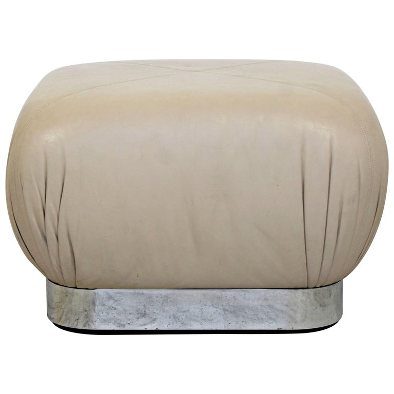 Mid-Century Modern Preview Chrome Beige Leather Ottoman Pouf Casters Springer For Sale