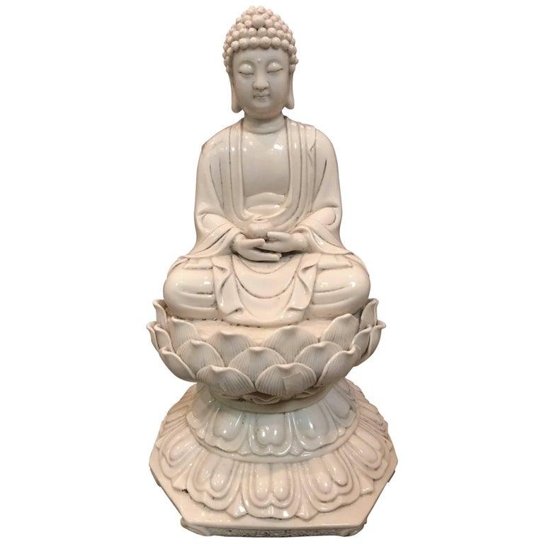 Blanc de Chine Porcelain Buddha Figure For Sale
