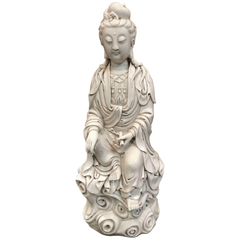 Fine Dehua, Blanc de Chine, Quan Yin Porcelain Figure For Sale