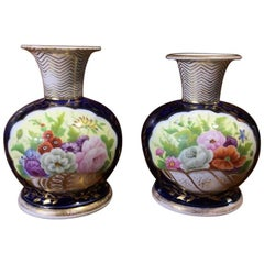 Pair of Early Minton Vases, Flower Panels, circa 1825