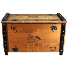Midcentury Cowboy Western Style Child's Toy Box or Trunk