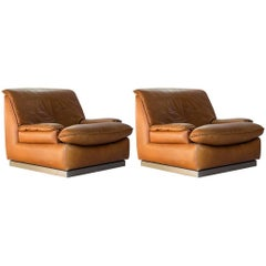 Pair of Italian Leather Club Chairs with Braid Detail