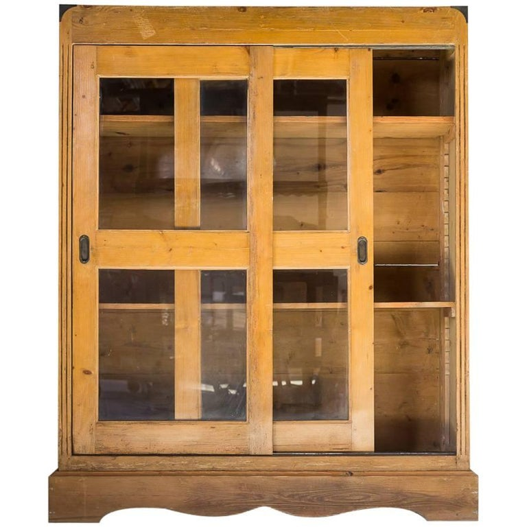 Oak Cabinet With Glass Sliding Doors For Sale At 1stdibs