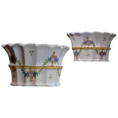 Pair of Hannoversch-Münden, Lower Saxony, Rococo Faience Bough Pots, circa 1780