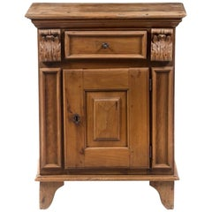 17th Century Italian Walnut Cabinet, Single Drawer over Single Door, Nice Patina
