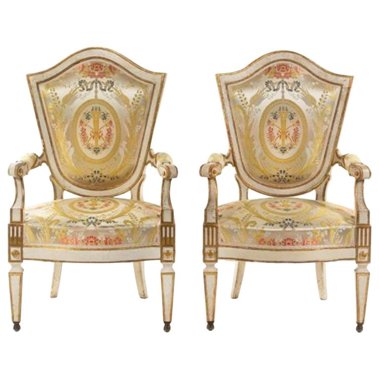 Pair of Italian Painted Fauteuils Florence, 18th Century For Sale
