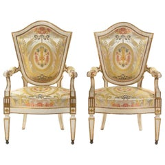 An Important Pair of Italian Painted Fauteuils Florence, 18th Century