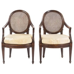 Pair of Italian Walnut Fauteuils  Genoa, circa 1790