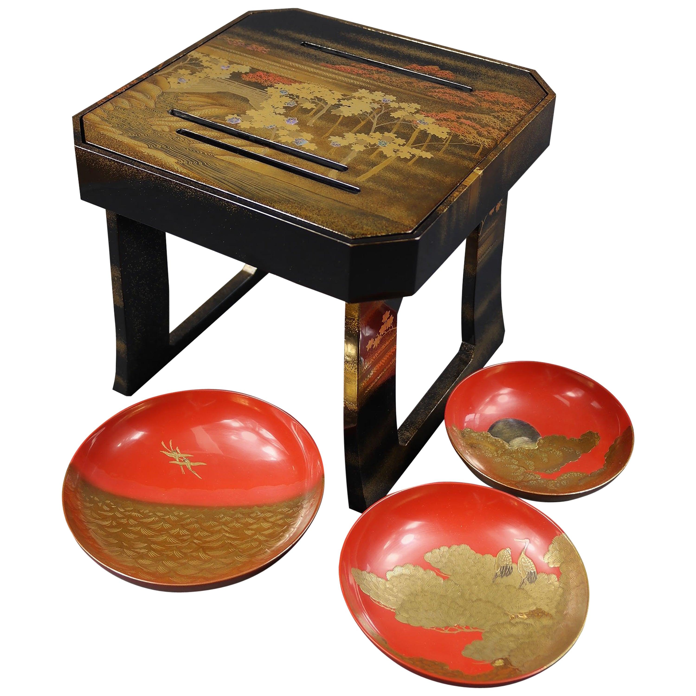 Early 19th Century, Pair of Sake Tables, Edo Period, Art of Japan
